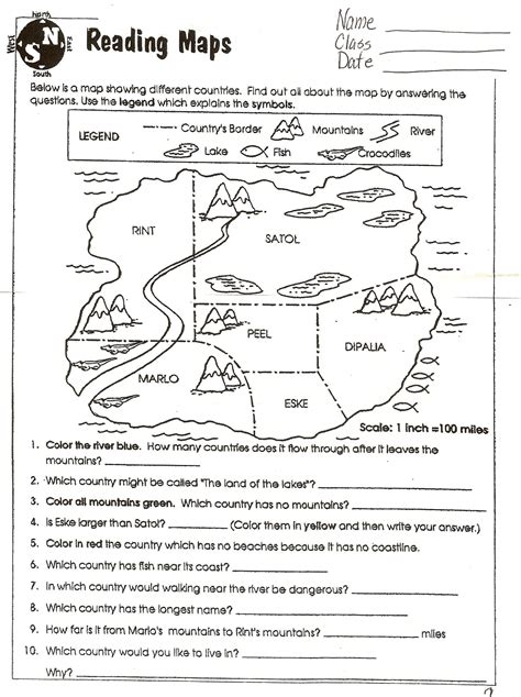 inspirational printable map skills worksheets  grade