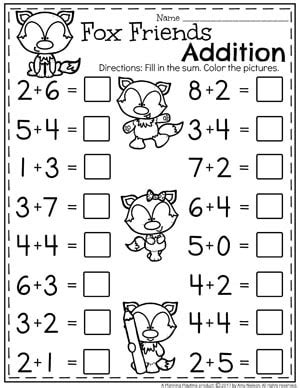 addition worksheets planning playtime 901 | Kindergarten Addition Worksheets Math Units for Kindergarten. II