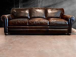 Splashy distressed leather sofa mode austin transitional for Couch und sofa fürth