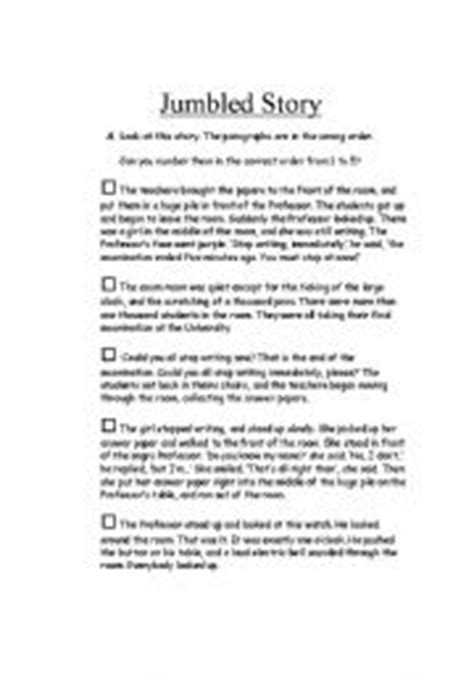 worksheets jumbled story