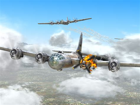 Painting Of A B29 Superfortress Bomber Limping Back Home