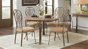 alegra metal 5 pc round dining set with stone top dining