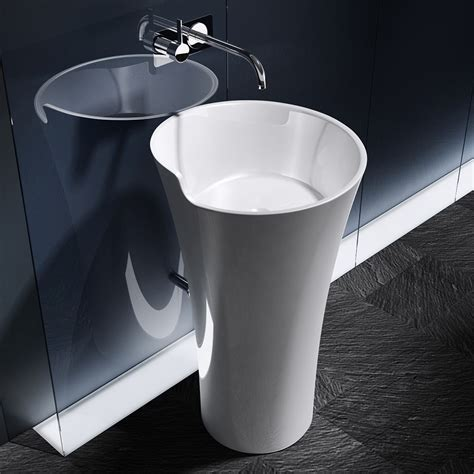 lavabo vasque sur colonne lavabo vasque 201 vier salle de bains design colonne sur pied fonte mineral 233 promo ebay