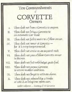 Corvette 10 Commandments