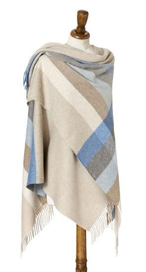 wool blanket made gifts lambswool mini ruana shawl stripe aqua natural