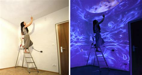 lights    glowing murals turn  rooms