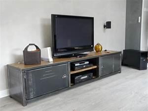 Meuble Bois Et Acier : meuble bois acier meuble de style industriel bois et acier sur mesure micheli design ~ Teatrodelosmanantiales.com Idées de Décoration