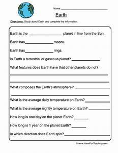 Earth Planet Worksheet