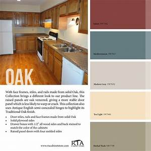 color palette to go with our oak kitchen cabinet line With best brand of paint for kitchen cabinets with physical therapy wall art