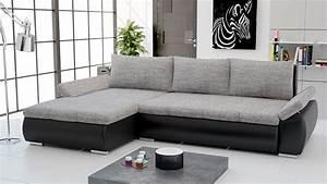 canape d39angle convertible en pu noir et tissu gris With tapis d entrée avec canapé convertible tissu noir