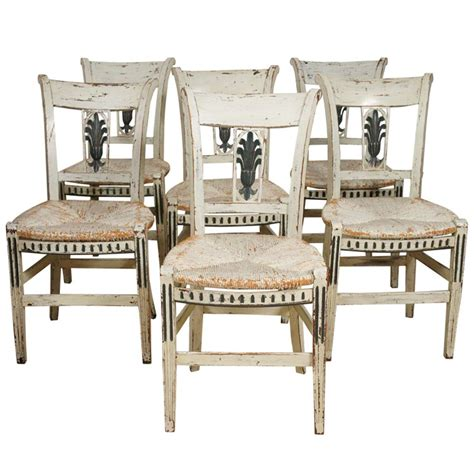 8 provincial green painted dining room chairs at