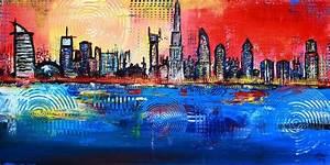 Kunst Online Shop : burgstaller bilder original acryl gem lde art painting abstrakt skyline dubai http www ~ Orissabook.com Haus und Dekorationen