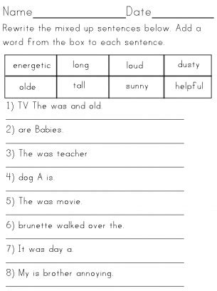 sentence structure worksheets year 1 can you use