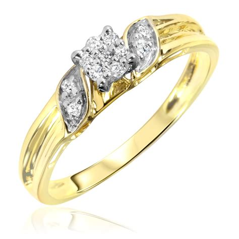 1 10 carat t w diamond women s engagement ring 10k yellow