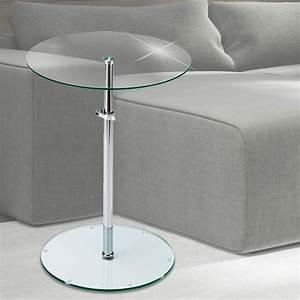 Tisch Rund Glas : klar glas beistell tisch platte rund dielen ablage fl che h henverstellbar chrom eur 36 90 ~ Frokenaadalensverden.com Haus und Dekorationen