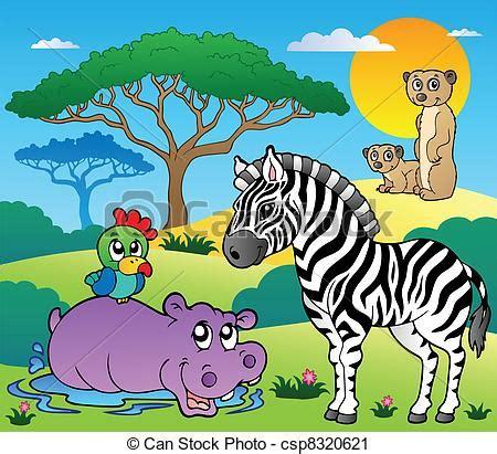 vector clip art  savannah scenery  animals
