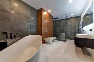 salon gris et blanc chambre cosy et salle de bains moderne With carrelage adhesif salle de bain avec lit design led