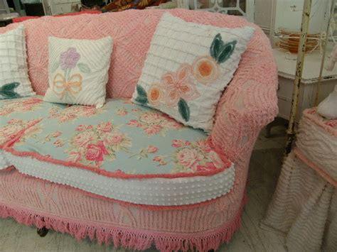 shabby chic sofa slipcovered  vintage chenille