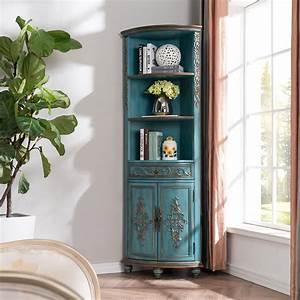 Luxury, Adame, Vintage, Rustic, Tall, Corner, Cabinet, Curio, Antique, Carved, Wood, Corner, Cabinet, Storage