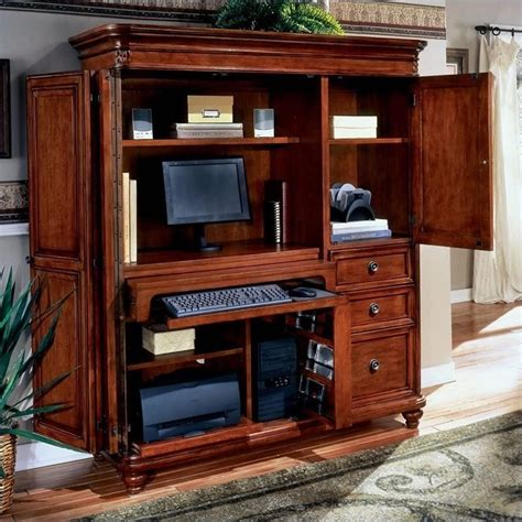 home office desk armoire office armoires furniture office flexsteel antigua wood computer armoire in cherry 7480 75