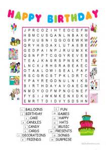Happy Birthday Word Search Printable