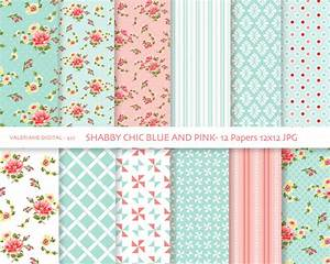 shabby chic digital paper pack in blue and pink digital With digitize paper documents