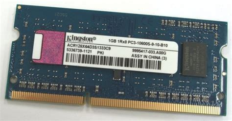 Kingston 1gb 1rx8 Pc3 10600s 9 10 B1 Ddr3 Laptop Memory