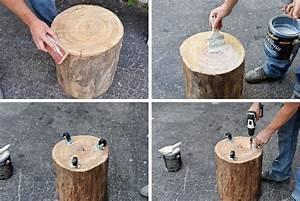 How, To, Make, A, Handmade, Natural, Tree, Stump, Side, Table, U2013, Homesfeed