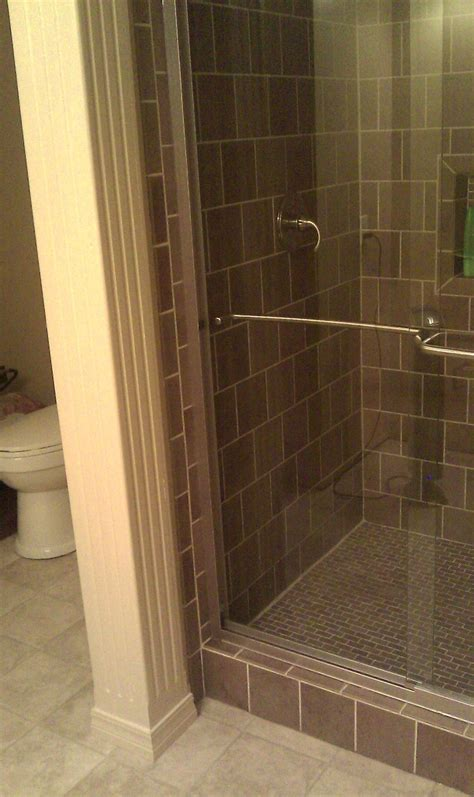 With Shower Brown Tile Walk In Shower And Handmade Wooden Column