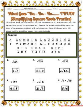 simplifying square roots halloween riddle worksheet by secondary math shop