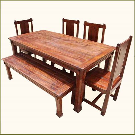 bench style table and chairs solid hardwood rustic dining room table chairs set