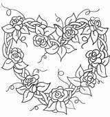 Embroidery Wreath Heart Hearts Roses Flowers Drawing Coloring Rose Floral Grapevine Patterns Printable Ribbon Coloriage Stitch Tattoo Sheets Perga Patrons sketch template