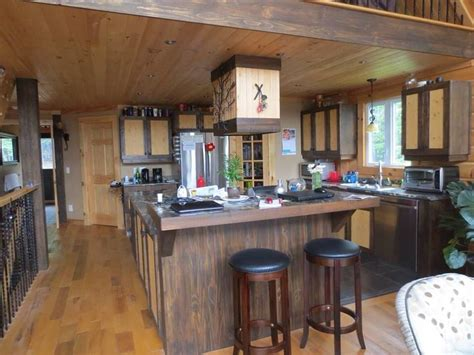 stains for kitchen cabinets these timber block home owners were going for a rustic 5740