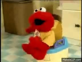 elmo sittin on the toilet on make a gif