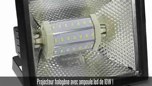 Projecteur à Led : projecteur halog ne noir ip 54 ampoule led smd 10w blanc froid youtube ~ Melissatoandfro.com Idées de Décoration