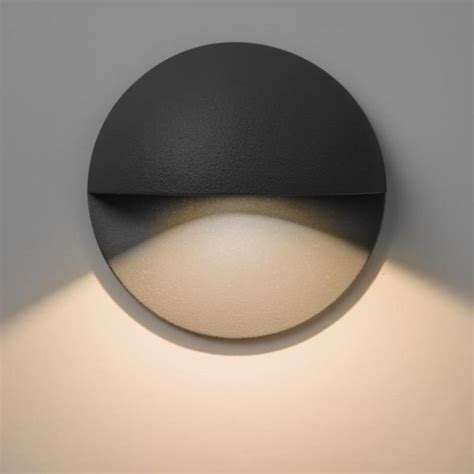 tivoli ip65 outdoor led recessed wall light in black