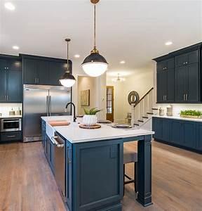 Navy Blue Pendant Light Painted Brick Farmhouse Home Bunch Interior Design Ideas