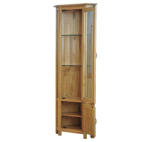 corner glass cabinet solid oak glass corner display cabinet sherwood oak