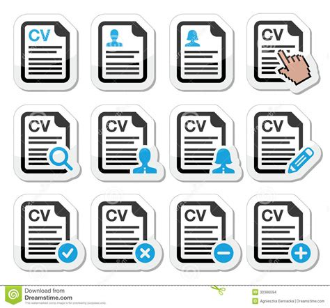 Blue Resume Icons by Cv Curriculum Vitae Resume Icons Set Stock Images Image 30386594
