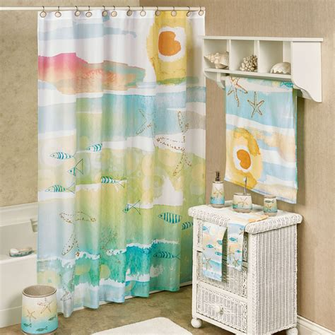 coastal shower curtains by the sea watercolor coastal shower curtain
