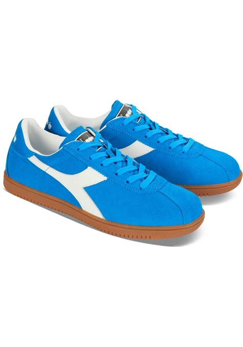 diadora mens tokio sneakers  azure suede leather italian boutique