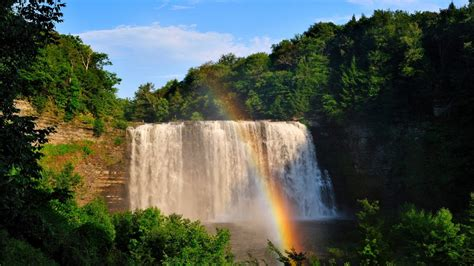 beautiful waterfall  rainbow weneedfun