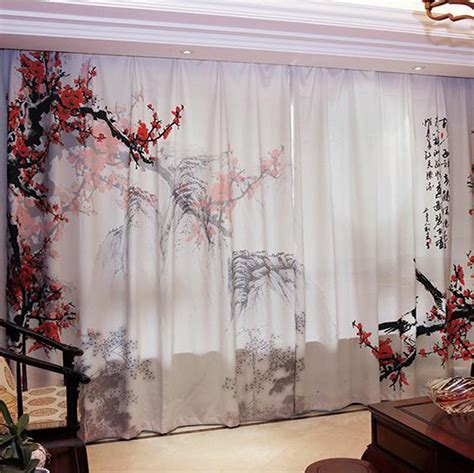 beautiful japanese tree birds red cherry blossom curtains