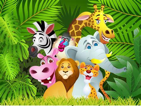 cartoon jungle animals childrens wall mural ohpopsi
