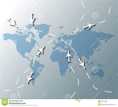 illustration  world map  planes stock vector