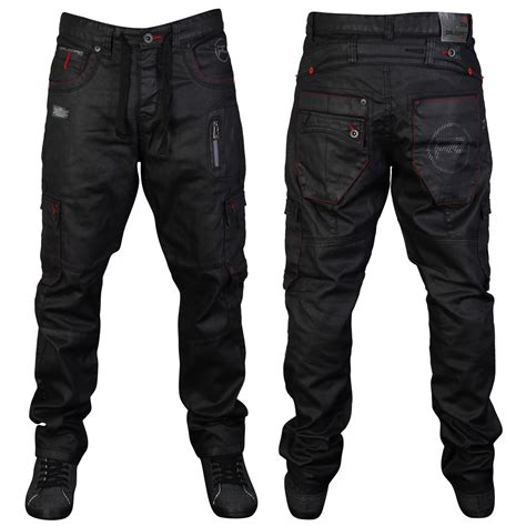 Mens Black Rawcraft Leto Designer Straight Fit Denim Jeans
