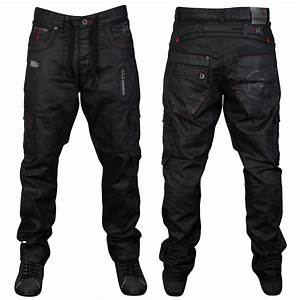 MENS BLACK RAWCRAFT LETO DESIGNER STRAIGHT FIT DENIM JEANS ...