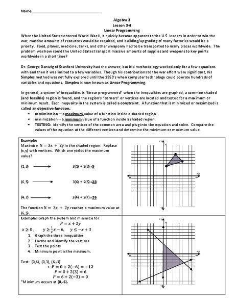 linear programming worksheet    grade lesson