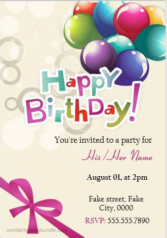 10 Birthday Invitation Cards for MS Word Users Word
