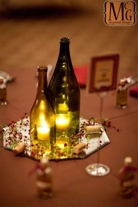 wine centerpiece ideas flowerless romantic wine bottle